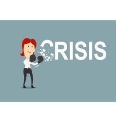 Successful businesswoman beats the crisis vector