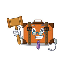 Suitcase with in cartoon judge shape vector