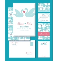 Swans wedding invitation set rsvp thank vector