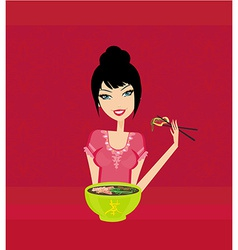 Sweet Asian girl enjoy soup vector