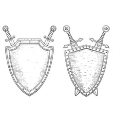 Swords and shield hand drawn sketch vector