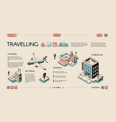 Traveling services isometric infographics vector