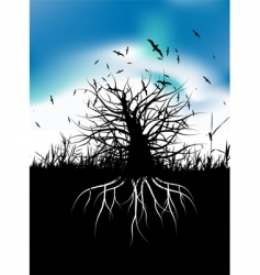 tree silhouette with roots vector image