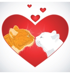 Two beloved cats on the heart shape background vector