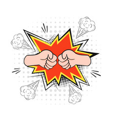 two fists in battle furious blow with red flash vector image
