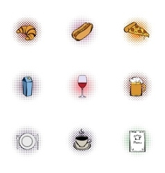 Unhealthy food icons set pop-art style vector