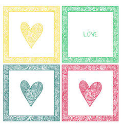 Valentine card with paisley pattern heart vector