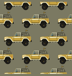 Vintage hand drawn surfing car seamless summer vector