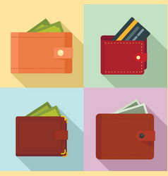 wallet icons set flat style vector image