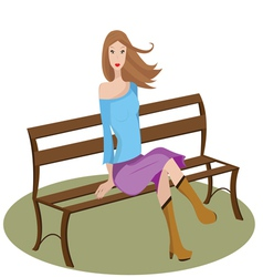 woman sitting on a bench vector image