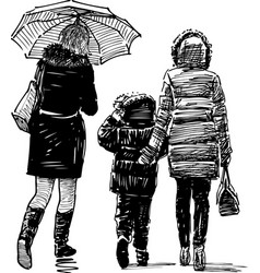 women and kid on a walk vector image