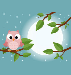 colorful tree with cute owl cartoon bird in moon vector image