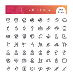 fighting line icons set vector image vector image