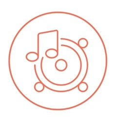 Loudspeakers with music note line icon vector image