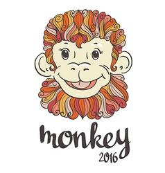 Vintage ornamental and decorative monkey Symbol of vector image