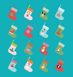 christmas and winter holiday modern icons set vector image