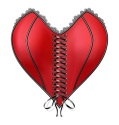 Red Corset Heart with lacing vector image