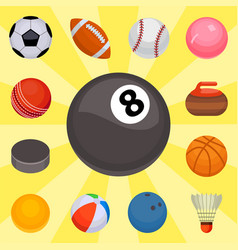 Set of balls isolated tournament win round basket vector