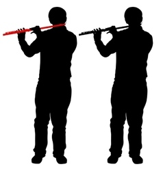 Silhouette of musician playing the flute vector image vector image