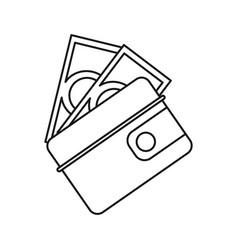 wallet dollar money cash thin line vector image