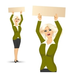 woman with blank empty signboard vector image