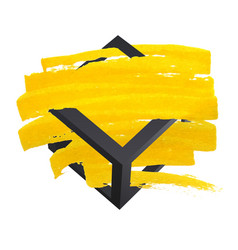 bright yellow brush stroke hand painted vector image
