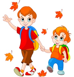 cartoon school boys vector image vector image