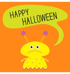 Cute yellow monster with speech text bubble vector image