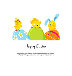 easter border with funny cute chicks and eggs vector image vector image