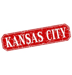 Kansas City red square grunge retro style sign vector image