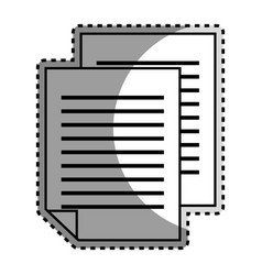 monochrome contour sticker with document file vector image