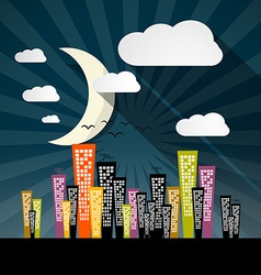Night City with Skyscrapers and Moon vector image vector image