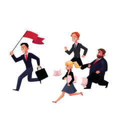 people running after leader holding flag business vector image vector image