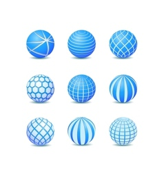 Set of Blue Abstract Round Stripe Ball Icon vector image