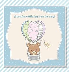 baby boy shower card with teddy bear vector image