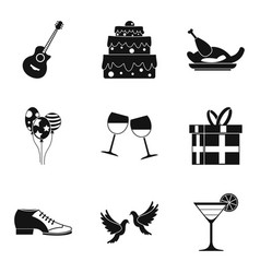 binge icons set simple style vector image vector image