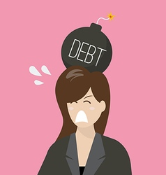 Business woman with debt bomb on her head vector image vector image