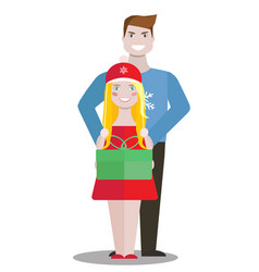 couple with green box of gift on white background vector image vector image