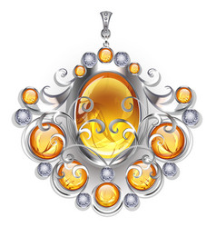 silver pendant with amber vector image