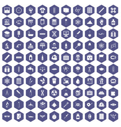 100 laboratory icons hexagon purple vector
