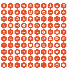 100 logotype icons hexagon orange vector
