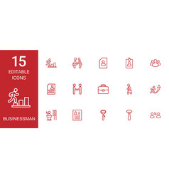 15 businessman icons vector image