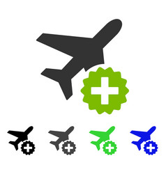 Airplane addition flat icon vector