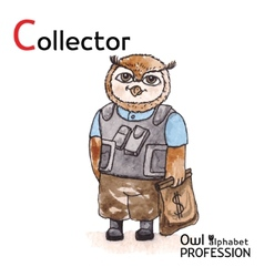 Alphabet professions Owl Letter C - Collector vector