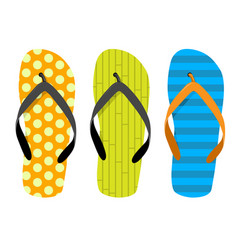 Beach thongs - set of motley beach slippers vector