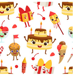 birthday party seamless pattern with cute funny vector image