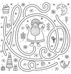 black and white maze game for kids help santa vector image
