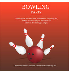 Bowling party concept background realistic style vector