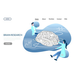 Brain research website landing page design vector