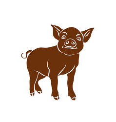 brown silhouette of funny piggy 2019 new year vector image